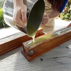 Pouring hand-made soap